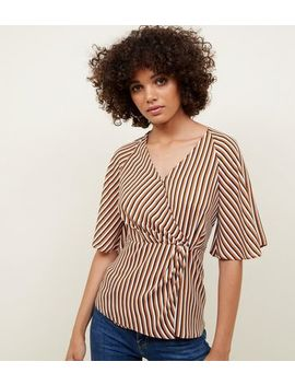 White And Rust Stripe Twist Wrap Front Top by New Look
