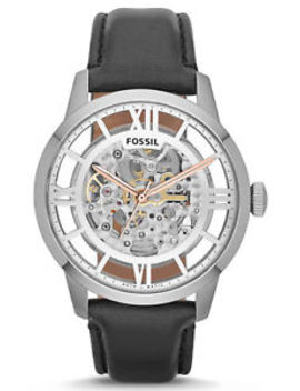 Fossil Me3041 Townsman Skeleton Silver Dial Leather Strap Automatic Men's Watch by Fossil