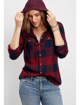 Hooded Plaid Button Down Shirt by Maurices