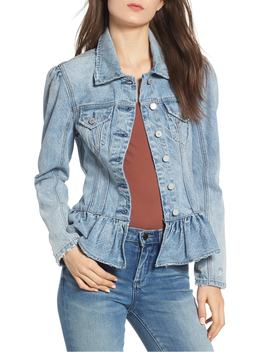 Situationship Denim Peplum Jacket by Blanknyc