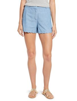Chambray Scallop Hem Shorts by J.Crew
