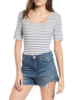 Stripe Square Neck Bodysuit by Cotton Emporium