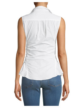 Sleeveless Button Front Belted Poplin Top by Frame