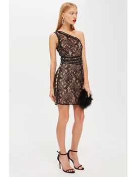 One Shoulder Lace Bodycon Dress by Topshop