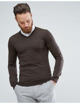 Asos Merino V Neck Sweater In Brown by Asos