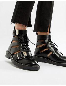 Asos Design – Premium – Archer – Ankle Boots Aus Leder Mit Aussparungen by Asos Design