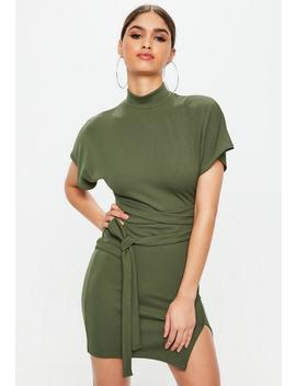Khaki High Neck Wrap Waist Shift Dress by Missguided