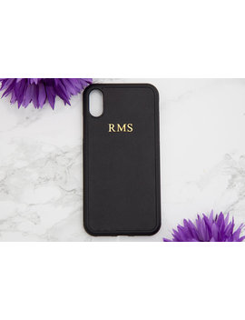Black Personalised Smooth Leather Iphone X Case, Customised Initials Iphone 10 Case, Embossed Phone Cover, Monogrammed Iphone Birthday Gifts by Etsy