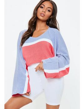 Lilac Striped Batwing Crop Sweater by Missguided