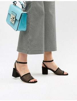 Stradivarius Mesh Block Heel Sandals by Stradivarius