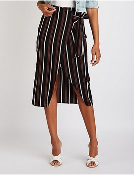 Striped Wrap Midi Skirt by Charlotte Russe