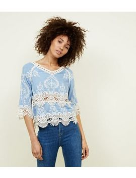 Pale Blue Crochet 3/4 Sleeve Top by New Look