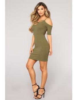 Kr Ista Cage Front Dress   Olive by Fashion Nova