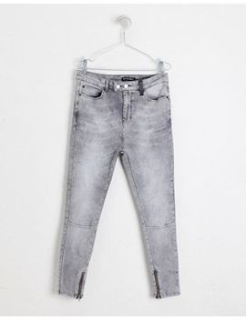 Religion Skinny Fit Jean With Stretch And Zips In Grey by Religion