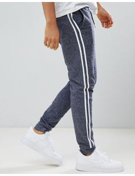 Asos Design Skinny Joggers In Navy Interest Fabric With Side Stripe by Asos Design