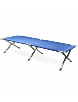 Popamazing Single Folding Aluminum Camping Bed Camp Travel Outdoor Bed (Blue) by Amazon