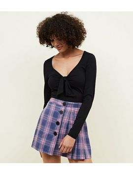 Cameo Rose Purple Check Pleated Mini Skirt by New Look