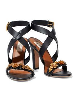 Metallic Floral Appliquéd Leather Sandals by Valentino