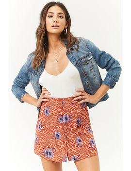 Floral Print Button Front Skater Skirt by Forever 21