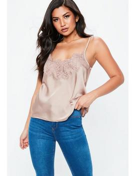 Gold Eyelash Lace Cami Top by Missguided