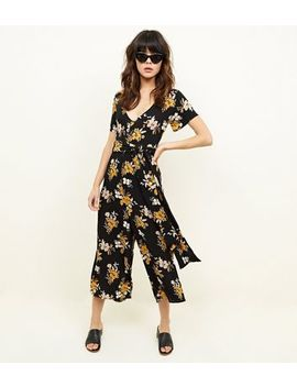 Cameo Rose Black Floral Button Front Culotte Jumpsuit by New Look