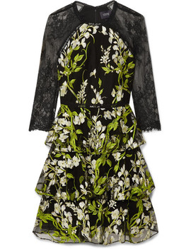 Tiered Embroidered Tulle And Lace Mini Dress by Marchesa Notte