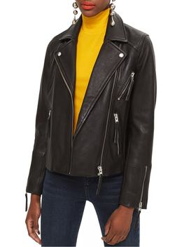 Dolly Leather Biker Jacket by Topshop