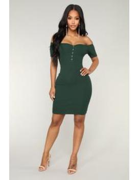 Harlie Ribbed Dress   Hunter by Fashion Nova