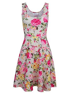 Tom's Ware Womens Casual Fit And Flare Floral Sleeveless Dress by Tom27s+Ware