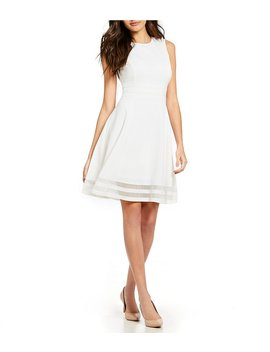 Sleeveless Illusion Hem Crepe Fit And Flare Dress by Generic