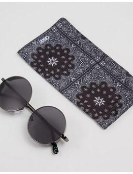 Asos – Runde Sonnenbrille In Stahlgrau Mit Seitlichen Kappen by Von