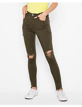 High Waisted Ripped Supersoft Leggings by Express