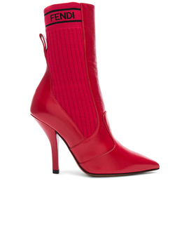 Leather &Amp; Knit Rockoko Mid Calf Boots by Fendi