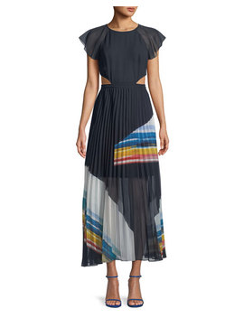 Keitha Pleated Flutter Sleeve Maxi Dress by Joie