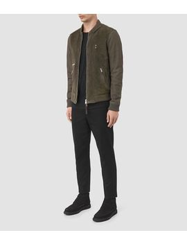 all-saints-logan-leather-bomber-jacket-size-s-,-suede-green-grey-color by allsaints