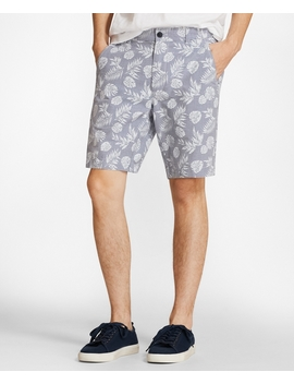 Tropical Print Cotton Twill Shorts by Brooks Brothers