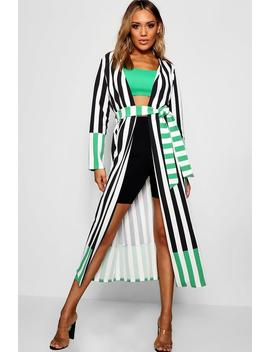 Contrast Stripe Belted Duster by Boohoo