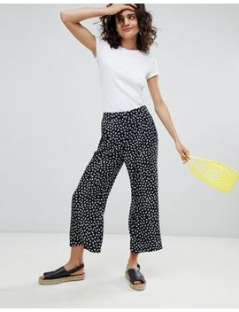 Monki Printed Wide Leg Cropped Trousers by Monki