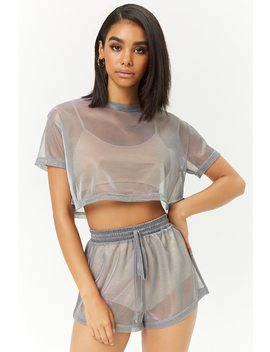 Sheer Iridescent Shorts by Forever 21