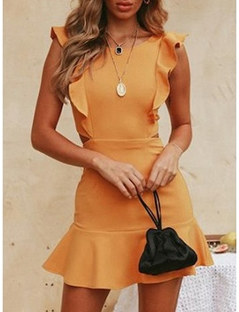 Yellow Ruffle Trim Open Back Sleeveless Chic Women Mini Dress by Choies