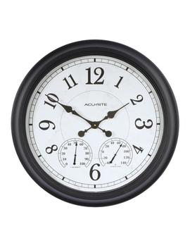 24 In. Black Clock With Thermometer And Hygrometer by Acu Rite