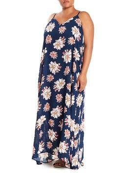 Printed Gauze V Neck Maxi Dress (Plus Size) by West Kei