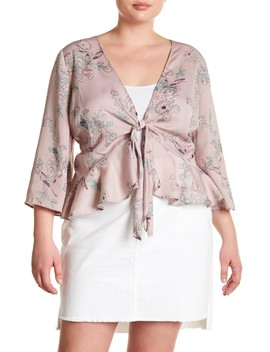 Satin Front Tie Floral Blouse (Plus Size) by Melrose And Market
