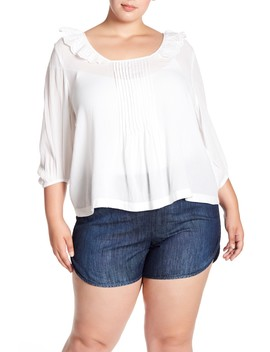 Pintuck Eyelet Square Neck Top (Plus Size) by Melrose And Market