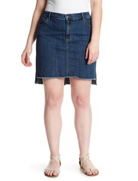 Frayed Step Hem Mini Denim Skirt (Plus Size) by Melrose And Market
