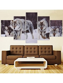 Unframe 5 Pcs Modern Abstract Snowfield Wolf Picture Canvas Oil Painting Picture Prints Home Wall Decor Gift by Generic