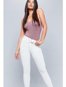 White Sinner High Waisted Circle Buckle Jeans by Missguided