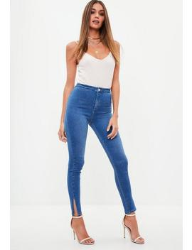 Blue Vice High Waisted Skinny Split Hem Denim Jeans by Missguided