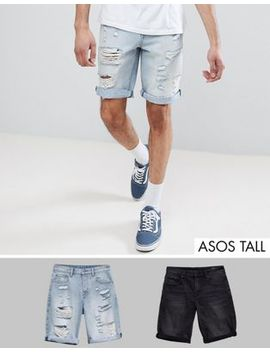 Asos Design Tall Denim Shorts In Slim Washed Black & Light Wash With Heavy Rips by Asos