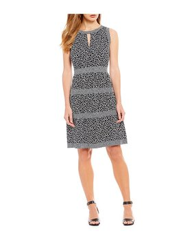 Graphic Leopard Print Tiered A Line Dress by Generic